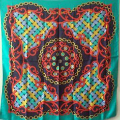 Items similar to Large Square silk Scarf by Lombagine Paris Turquoise silk head scarf vintage colorful design Women accessories Gift for her on Etsy Green Turquoise, Blue Yellow, Red And Blue, Cravat Tie, Silk Scarves, Womens Scarves, Vintage Items, Women Accessories, Gifts For Her