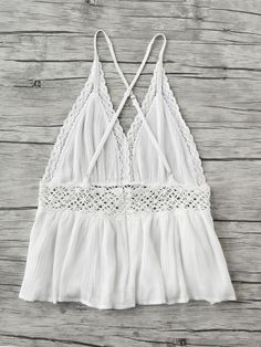 Shop Lace Trim Criss Cross Backless Pleated Cami Top at ROMWE, discover more fashion styles online. Cute Summer Outfits, Outfits For Teens, Sexy Outfits, Casual Outfits, Cute Outfits, Fashion Outfits, Criss Cross, Boho Fashion, Girl Fashion
