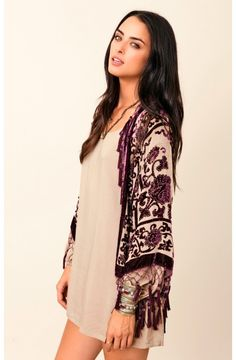 """""""So it's safe to say this velvet kimono is at the top of my wishlist this year. I absolutely love how Planet Blue styled it online with the beige dress--it allows the deep, violet velvet detailing really be the focal point of the outfit, as it should be! Perfect date night outfit."""" Chelsea http://rstyle.me/n/e9crmgrn"""