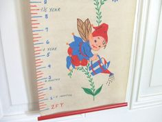 Vintage Nursery Growth Chart with Elves by LinensandThings on Etsy
