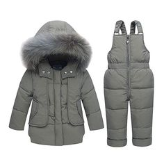 1bd4046db YFCH Baby Girls Boys 2-Piece Snow Bib Pants and Ski Suit Jacket Winter Warm