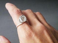 Sterling Silver Ring Abstract Rose Ring Minimalist Jewelry by SteamyLab