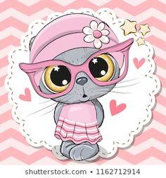 Cute Cat girl in pink eyeglasses. Cute cartoon Cat girl in pink eyeglasses with a bow vector illustration Pink Eyeglasses, Cute Cartoon Images, Catgirl, Cute Clipart, Car Illustration, Cute Cars, Cat Drawing, Free Vector Art, Cute Pink