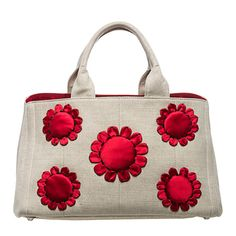 Natural/Red Prada 'Misollino' Floral Gardner's Tote | Overstock.com Shopping - The Best Deals on Designer Handbags