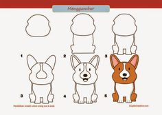 kerajinan anak SD/paud, cara & langkah menggambar anjing