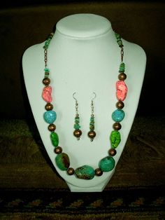 Genuine Multi-Color Kingman & Natural Turquoise/Copper Bead Necklace & Earrings $65.99