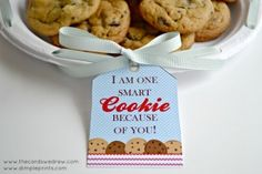 One Smart Cookie Teacher Gift with Free Print from DimplePrints - The Cards We Drew Teacher Gift Tags, Love Teacher, Cream Cheese Ball, One Smart Cookie, Teacher Appreciation Week, Volunteer Appreciation, Presents For Teachers, Coconut Cookies, School Fun