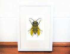Framed Bee/Fly Screen Print  Hand pulled silk by ZealIllustration