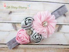 Pink and gray flower headband