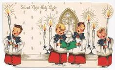 "Another one of the vintage/retro Christmas cards from my collection. What is the difference between retro and vintage, anyway? When does ""retro"" become old enough to be labeled ""vintage""? Christmas Sheet Music, Old Christmas, Retro Christmas, Christmas Carol, Christmas Greetings, Christmas Postcards, Antique Christmas, Christmas Angels, Vintage Christmas Images"