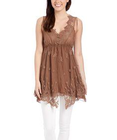 Pretty Angel Brown & Cream Silk-Blend Empire-Waist Tunic by Pretty Angel #zulily #zulilyfinds