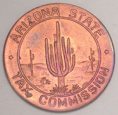 Arizona-State-Sales-Tax-Token Sales Tax, Arizona State, Coin Collecting, Coins, Vintage, Cactus, Vintage Comics, Primitive