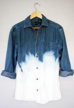 90s Grunge Unisex Dip Dye Ombre Bleached Denim Long Sleeve Shirt Top Oversized