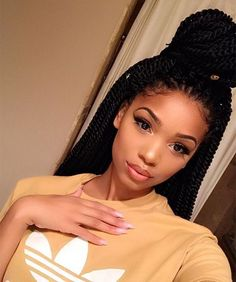 If you're looking for a protective hairstyle that isn't another box braided look, try one of these Senegalese twist styles for versatile, high-shine hair. Black Girl Braids, Girls Braids, 4c Hair, Hair Wigs, Curly Hair Styles, Natural Hair Styles, Black Girls Hairstyles, Braided Hairstyles, Senegalese Twist Styles