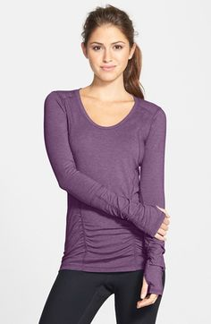 Free shipping and returns on Zella 'Z 6' Long Sleeve Tee at Nordstrom.com. Flattering, curve-enhancing seaming and flaw-minimizing ruching along the front update a breathable performance tee fashioned from ultra-lightweight stretchy fabric.