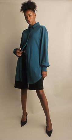 Stretch Cotton Long Sleeve Teal Dress with Pockets Work Blouse, Blouse Dress, Work Shirts, Button Up Shirts, Lace Camisole, Button Up Dress, Dress Shirts For Women, Teal, High Neck Dress