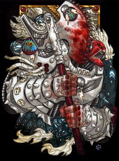 Libris Primaris: Angron, sometimes called the Red Angel, is the Primarch of the World Eaters. He was the most bloody-handed and savage of the Primarchs. When Horus began his rebellion, Angron was quick to join in his treachery, but his only true master was the rage and bloodlust within him. He fell to Chaos during the Horus Heresy and was transformed into a Daemon Prince of the Blood God Khorne.