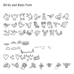 Font dingbat Birds and bees hand drawn digital by JudesDesigns