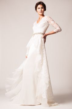 The Temperley Bridal Winter 2015 Collection - Posey Dress worn with Beatrice Belt #wedding #dress #accessories #lace #sleeve #silk #classic #TemperleyLondon