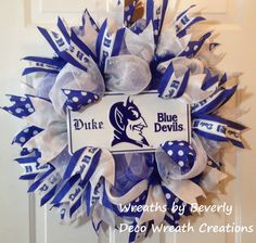 Buy Duke Blue Devils Wreath by decowreathcreations. Explore more products on http://decowreathcreations.etsy.com