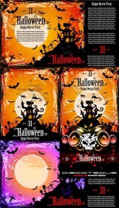 Halloween posters fine vector Vector misc - Free vector for free download