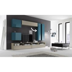 Awesome Modern TV Wall Units For Living Room Ideas - Page 5 of 17 Tv Cabinet Design, Tv Unit Design, Tv Wall Design, Tv Unit Decor, Tv Wall Decor, Modern Interior Design, Interior Design Living Room, Living Room Designs, Showcase Designs For Hall