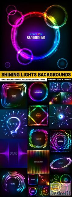 Shining lights Backgrounds - 20 Vector