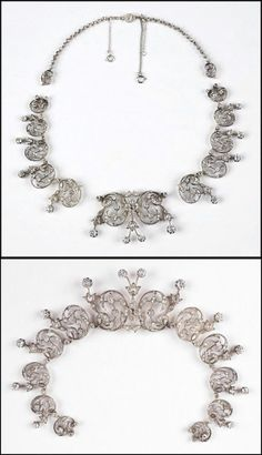 VICTORIAN DIAMOND NECKLACE / TIARA. Necklace is comprised of 222 rose cut diamonds which are G-K color, VS-I clarity, and total approximately 10.5 carats. Diamonds are mounted in a silver topped gold setting with the center and two flanking scrolled segments detachable for use as a tiara. Necklace does not have findings for tiara conversion - so lower image an approximation of what it might look like in tiara form. Unmarked