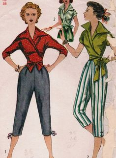 1950 to 1953 women's look | Vintage 1953 Simplicity 4255 Sewing Pattern Misses' Wrap Around Blouse ...