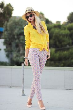 i love a girl who's not afraid to mix bold prints and bright colors.