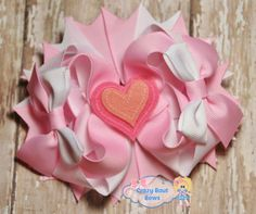 Valentine's Day Hair Bow Pink and White Hair Bow by CrazyBoutBows