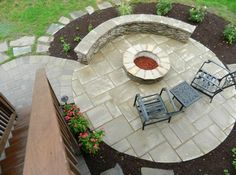 Patio under deck with separate firepit patio. - contemporary - patio - other metro - by Vidic Landscape Design & Construction, LLC