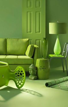 Going green / When decorating monochromatically, there's no need to be a purist. On its own, the electric hue that Pantone calls Tender Shoots can add an energizing jolt to rooms. (See the lamp and chairs shown here.) As versatile as it is vivid, it also works well with other greens, from olive to avocado.