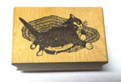 Cat on rug rubber stamp wood mounted Stamp Magic Vintage Pets card making cats #StampMagic #CatsAnimals
