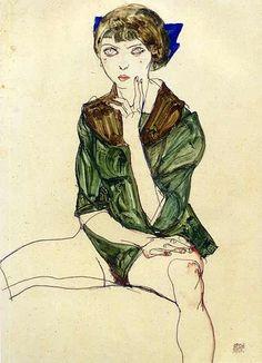Sitting Woman in a Green Blouse,1913 by Egon Schiele