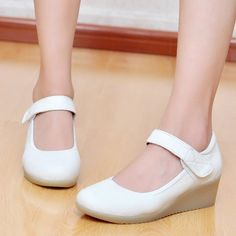 women single shoes genuine leather white nurse shoes comfortable wedges mother/work shoes