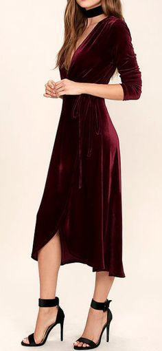 Enchant Me Burgundy Velvet Midi Wickelkleid - Trendy Dresses, Cute Dresses, Beautiful Dresses, Wrap Dresses, Belle Silhouette, Velvet Fashion, Vestidos Vintage, Looks Style, Mode Style