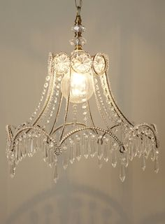 A Positively Beautiful Blog. What a cute idea! Don't  throw that old lampshade away. Any beads or crystals would do or use your imagination.