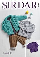 Sirdar 4943 uses Snuggly DK yarn to cardigans and sweaters. Uses weight yarn. Sizes birth to 7 years. Jumper Patterns, Easy Knitting Patterns, Crochet Patterns, Pullover, Collars, Knit Crochet, Baby, Sweaters, Cardigans