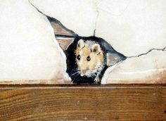 Mouse Hole Wall Art   Mouse in Wall Trompe L'oeil