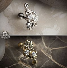Flower and gems tragus or cartilage barbell