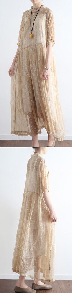 nude stylish print silk half sleeve maxi dress