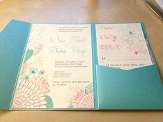 DIY Invites Coral & Teal (Mostly DIY) : wedding aqua blue coral diy floral invitations pink pocket teal Invite 2