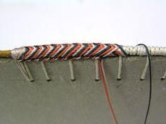 bookbinding multicolor stitching -- Stage de tranchefiles brodées variées - Vanessa Krolikowski Bookbinding Tools, Bookbinding Tutorial, Book Projects, Handmade Books, Book Binding, Book Journal, Book Making, Altered Books, Mini Books
