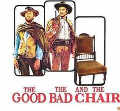 PIC:  The Good, The Bad and The Chair.  Hahahaa #emptychairday #Eastwooding