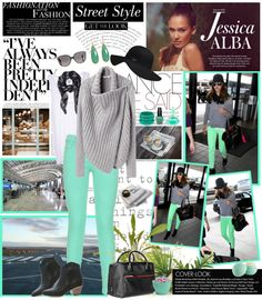 """Get the look of Jessica Alba's street style"" by firstclass1 ❤ liked on Polyvore"