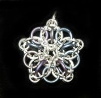 Chainmail Jewelry - Silver Star Pendant in Sterling Silver and Anodized Titanium