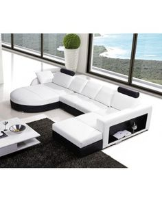 VIG- T57C Modern White Leather With Black Contrast Design Featuring Adjustable Headrest Sectional Sofa