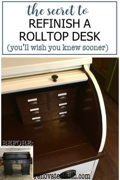 Tip 2 is great! The hardest part of a rolltop desk makeover is painting the tambour (the accordian-like part). Here's what to do & what NOT to do when repurposing a roll top desk - This DIY tutorial includes paint ideas, before and after photos, & how to add more drawers for organization, These desks refinished for your office or as a refurbished statement piece in your living room. Glazing Furniture, Furniture Refinishing, Diy Furniture Projects, Painting Furniture, Diy Projects, White Washed Furniture, Distressed Furniture, Farmhouse Furniture, Repurposed Furniture