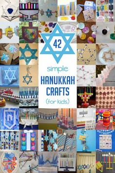 42 Simple Hanukkah Crafts for Kids to Make is part of Holiday crafts Hanukkah - Fun and simple Hanukkah Crafts for kids to make! Lots of Dreidel crafts, Star of David crafts, Menorah crafts and even some fun Hanukkah advent calendars! Hanukkah For Kids, Hanukkah Crafts, Jewish Crafts, Feliz Hanukkah, Hanukkah Decorations, Christmas Hanukkah, Holiday Crafts For Kids, Happy Hanukkah, Hannukah